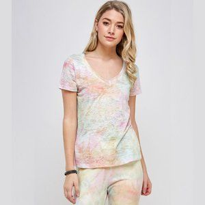 Tie dye burn out V neck T shirt